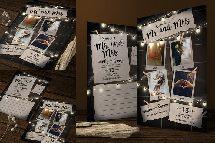Thumbnail for String Lights Save the Date Post Card