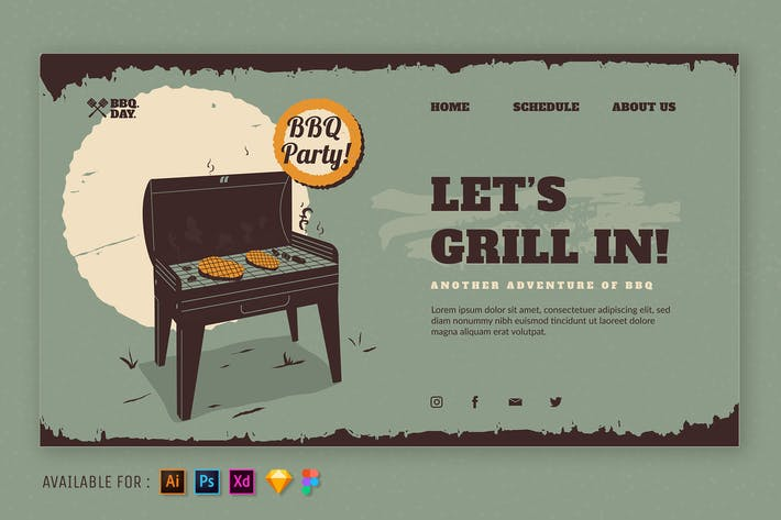 Thumbnail for Let's Grill In - Illustration Web vintage