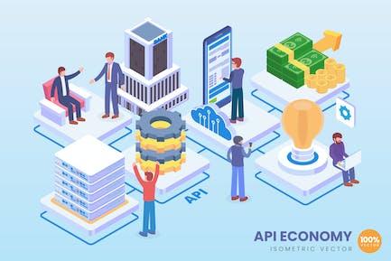 Isometric API Economy Technology Vector Concept