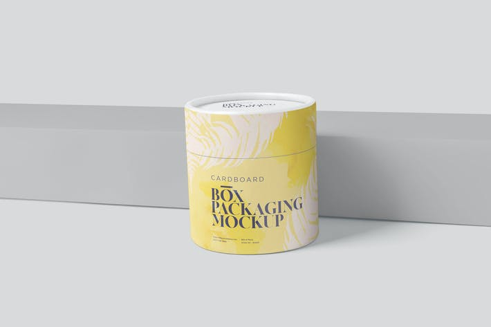 Cover Image For Round Cardboard Box Packaging Mockups