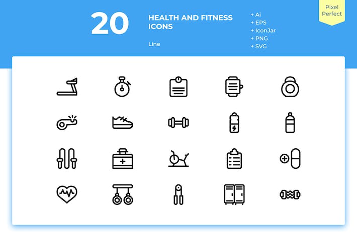 Thumbnail for 20 Health and Fitness Icons (Line)