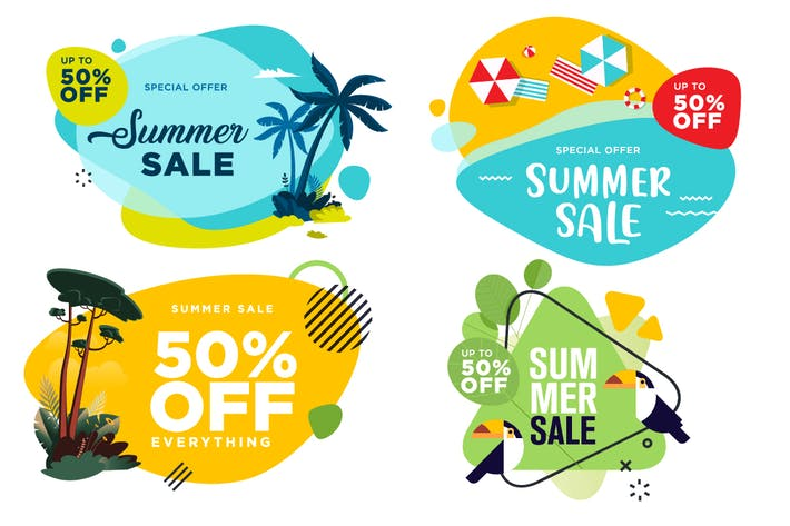 Thumbnail for Set of summer sale labels and badges.