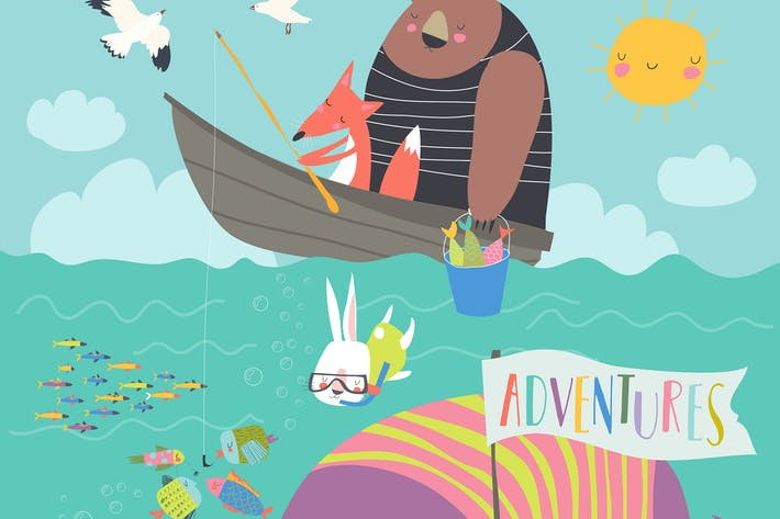 Animaux mignons attrapent #illustration2020