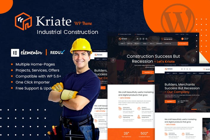 Thumbnail for Kriate - Industrial Construction WordPress Theme