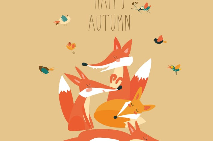 Thumbnail for Cute foxes with birds. Vector autumn illustration