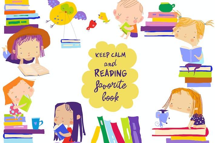 Lindo marco compuesto por niños leyendo libros.