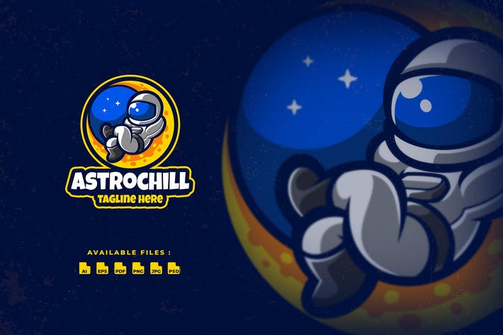 Astronaut Chill Cartoon Logo