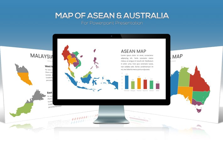 Thumbnail for ASEAN & Australia Maps For Powerpoint