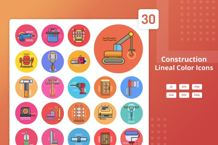 Thumbnail for Construction - Lineal Color Icons
