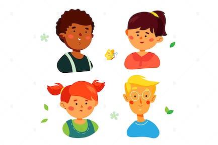 Retratos de niños preescolares felices - personajes