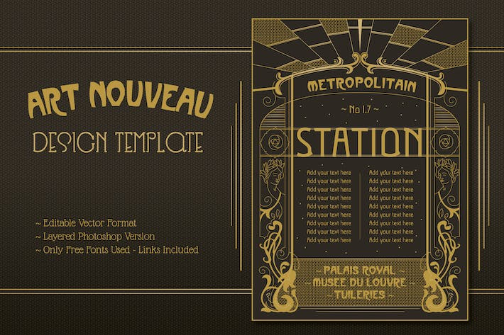 Thumbnail for Art Nouveau Editable Design Template