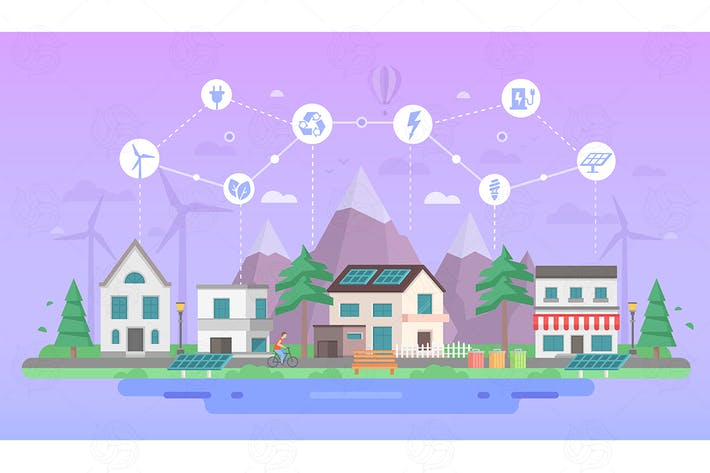 Thumbnail for Eco-friendly city district - flat illustration