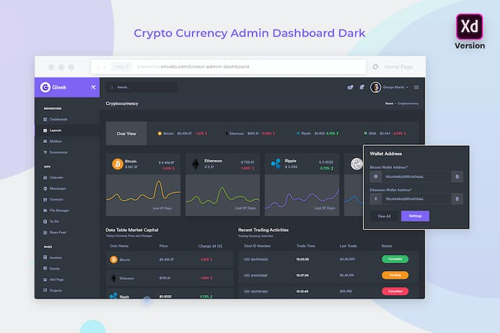 Thumbnail for CryptoCurrency Admin Dashboard Dunkle Version (XD)
