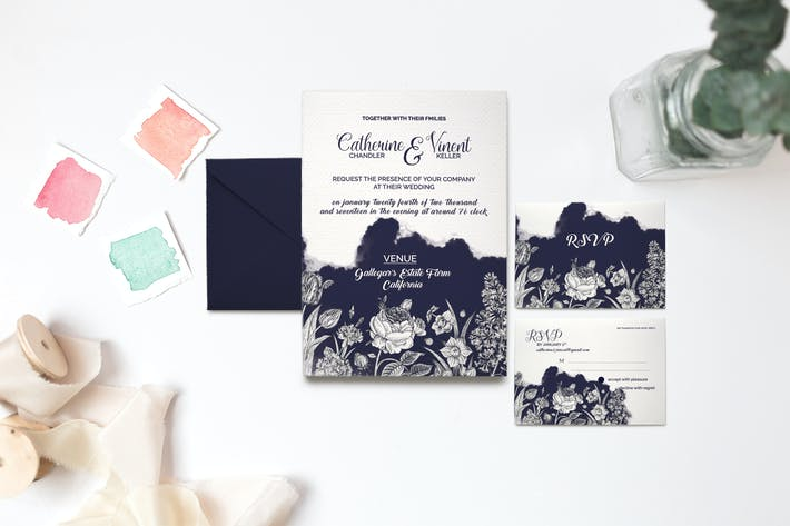 Thumbnail for Watercolour Wedding Invitation Set