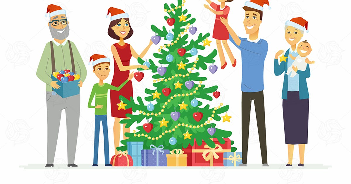 Family decorates Christmas tree - illustration by BoykoPictures