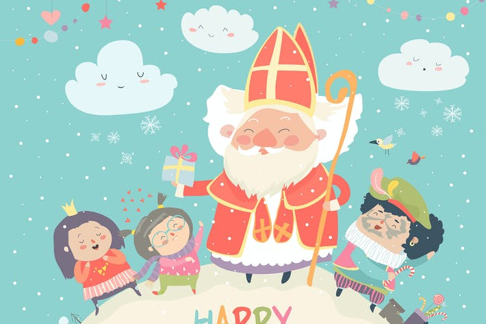Thumbnail for Saint Nicholas with Piet and happy kids. Vector