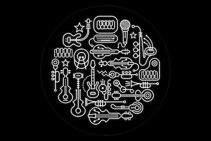 Musical Instruments Round Vector Illustration
