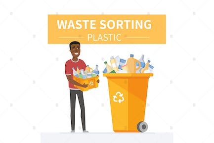 Plastic waste recycling - colorful illustration