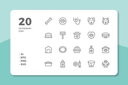 20 Veterinary Icons (Line)