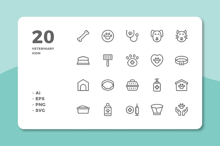 Thumbnail for 20 Veterinary Icons (Line)