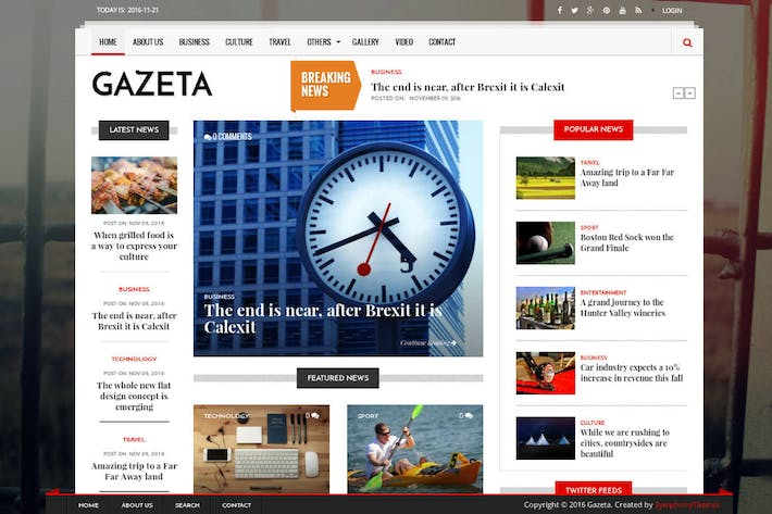 Thumbnail for Gazeta - News & Magazine Drupal 8 Theme