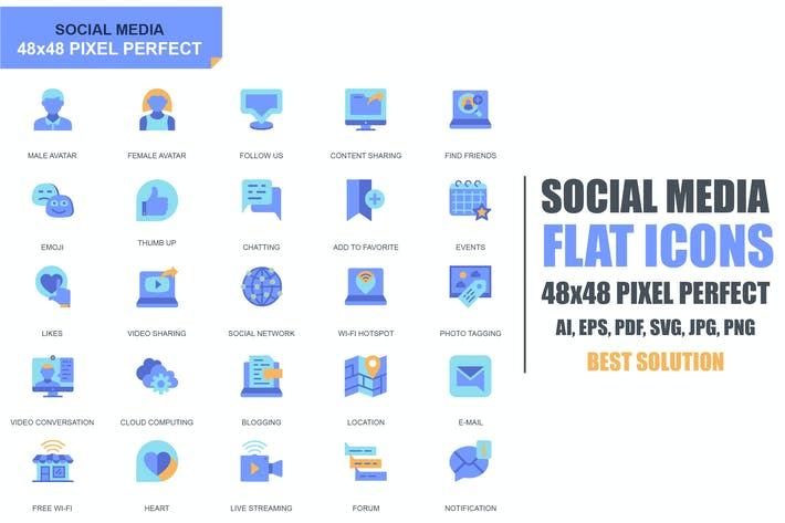 Cover Image For Simple Set Social Media and Network Flat Icons