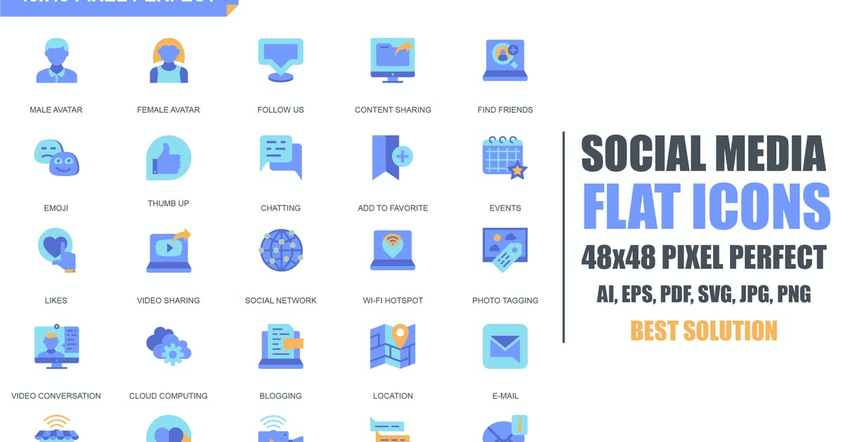 Download Simple Set Social Media and Network Flat Icons by alexdndz