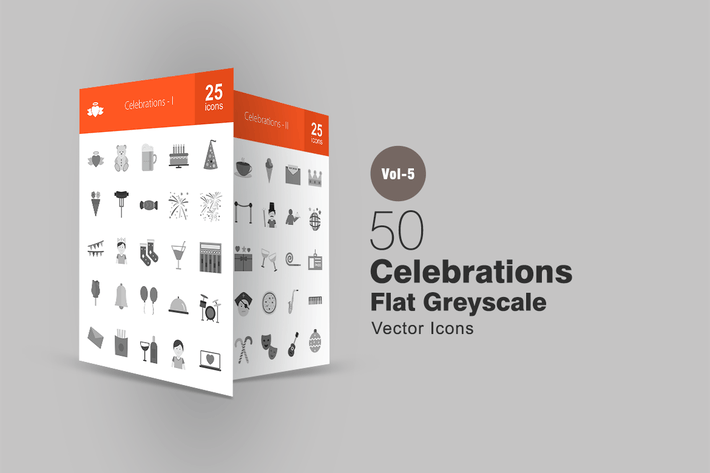 Thumbnail for 50 Celebrations Greyscale Icons