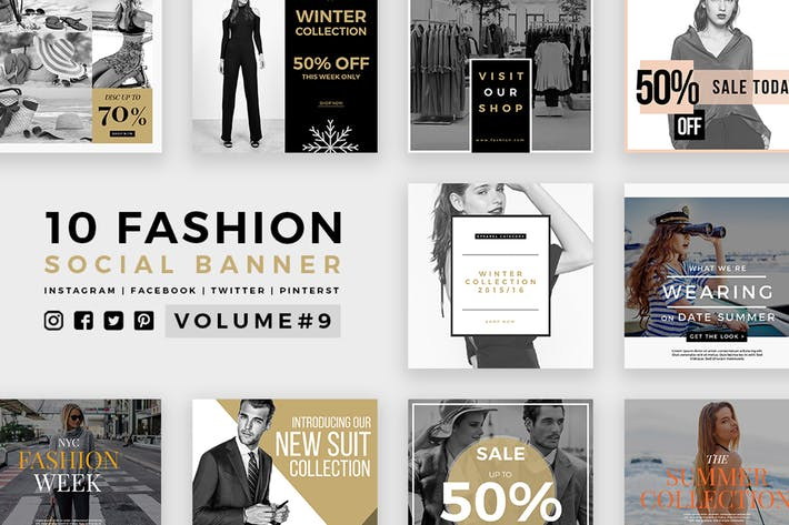 Thumbnail for Fashion Social Media Banners - Kit 09