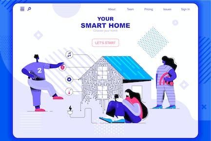 Smart Home Flat Concept Landing Page Header