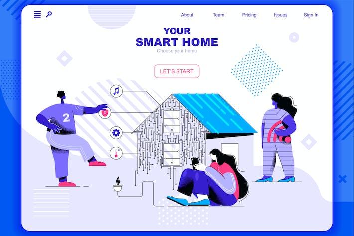 Thumbnail for Cabecera de página de inicio de Smart Home Flat Concept