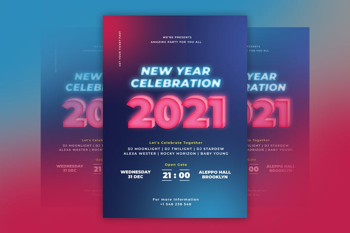 Thumbnail for New Year Neon Flyer Template