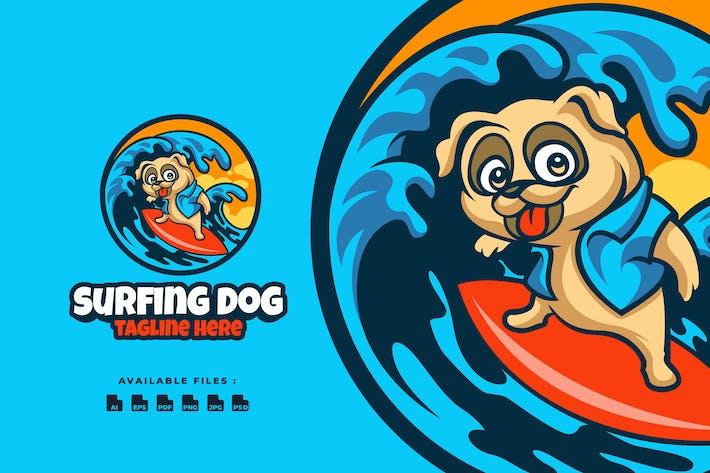 Thumbnail for Logo de dessin animé chien de surf