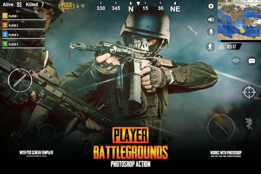 Игрок поля боя Photoshop действий PUGB