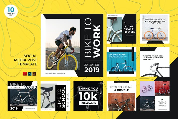 Thumbnail for Bike To Work Social Media Kit PSD & AI Template