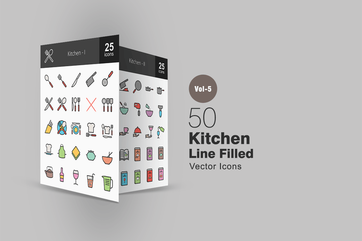 Thumbnail for 50 Kitchen Line Filled Icons