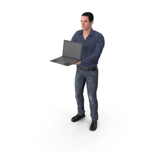 Thumbnail for Casual Man James Holding Laptop