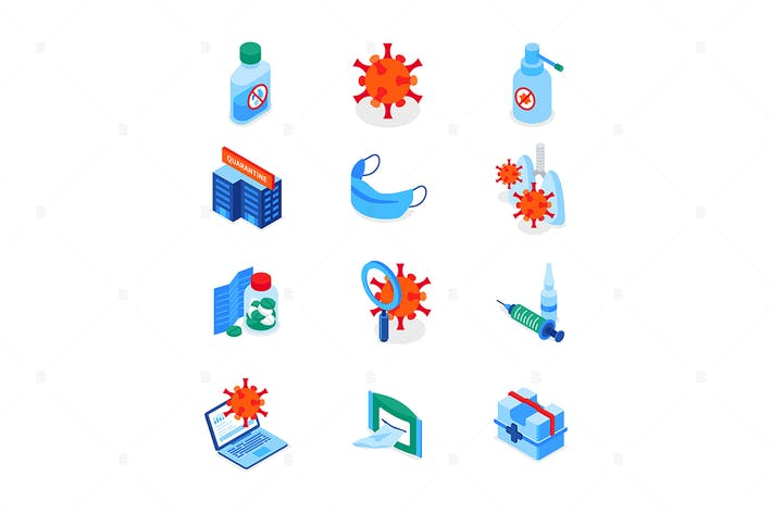 Thumbnail for Coronavirus disease - set of isometric icons