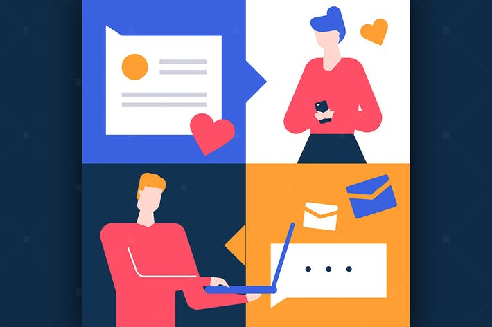 Thumbnail for Dating app - flat design style illustration