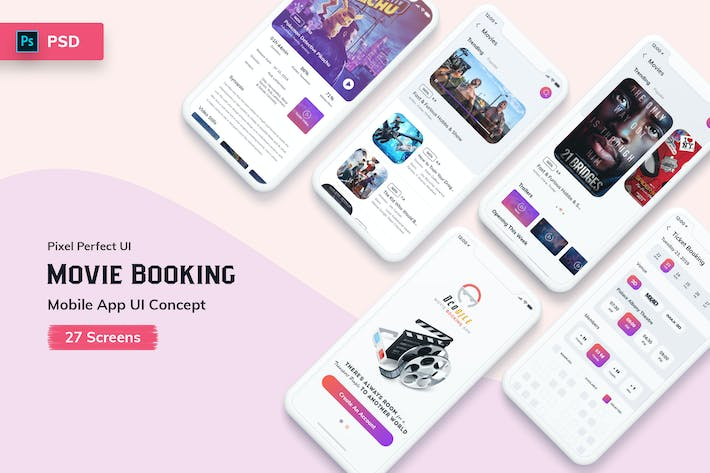 Thumbnail for Ocodile-Movie Booking Mobile App UI Kit Light