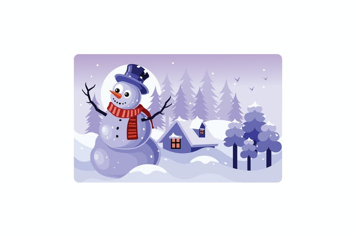 Thumbnail for Snowman with a Scarf Winter Illustration