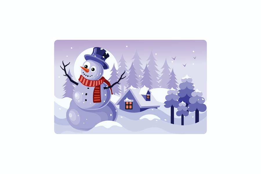 Snowman with a Scarf Winter Illustration
