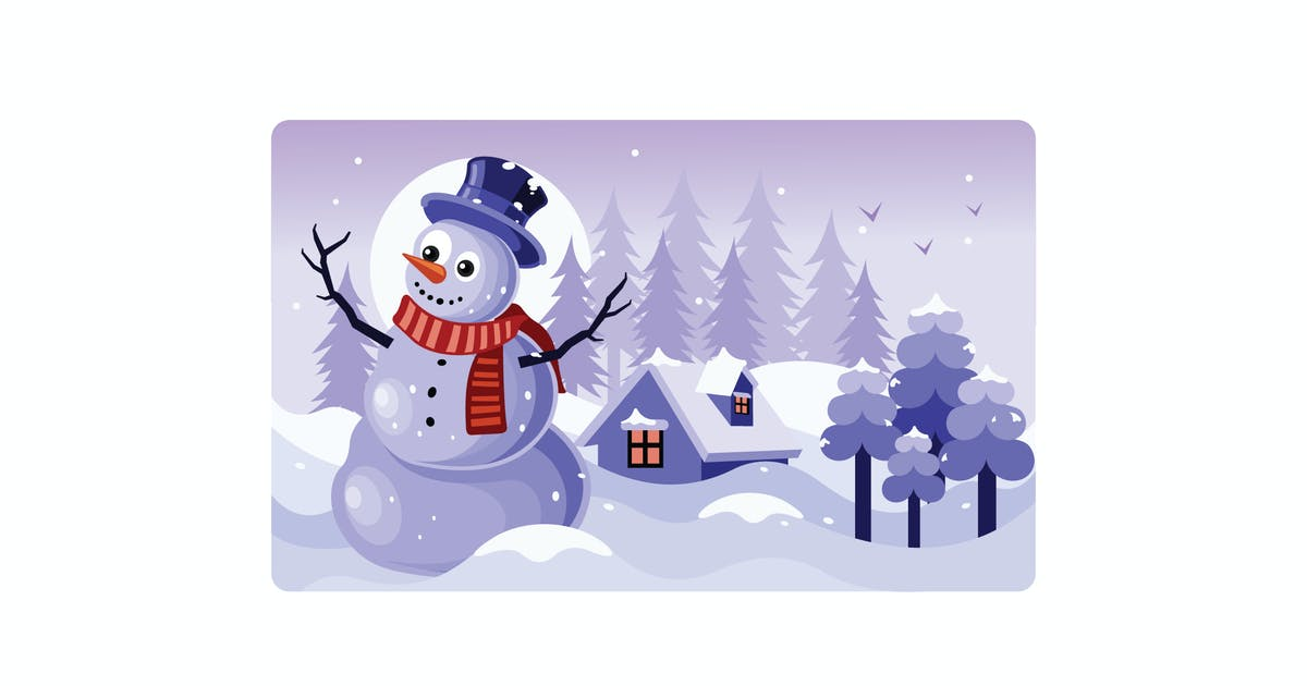 Download Snowman with a Scarf Winter Illustration by IanMikraz