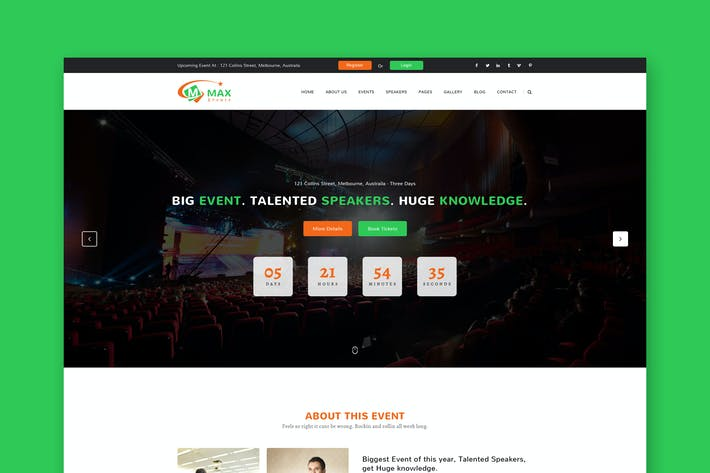 Thumbnail for Events & Conference PSD Template