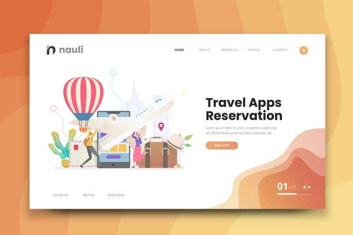 Thumbnail for Travel Apps Reservierung Web PSD und AI Vektor
