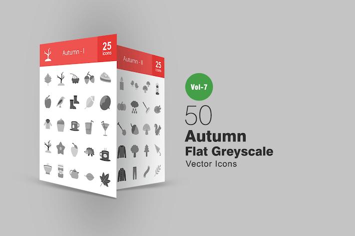 50 Autumn Flat Greyscale Icons