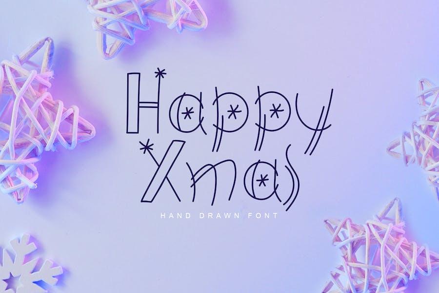 Happy Xmas Hand Drawn Font