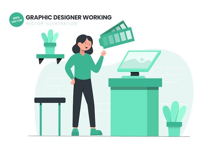 Thumbnail for Graphic Designer Working Flat Vector Illustration