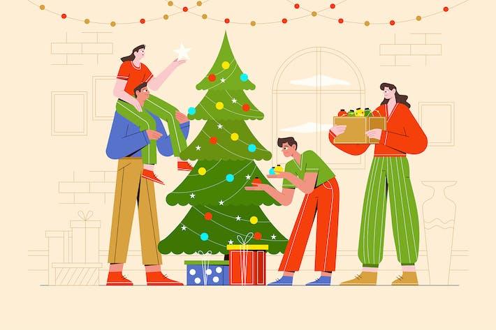 Thumbnail for Family Decorates a Christmas Tree Illustration