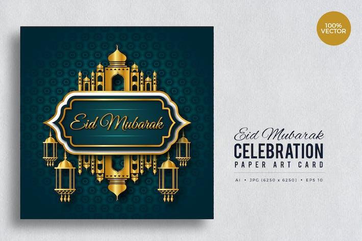 Thumbnail for Eid Mubarak Paper Art Vector Card Vol.1
